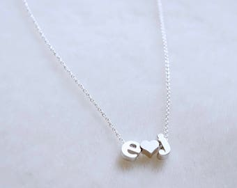 Couples Necklace - Personalized Necklace, Tiny Letter Necklace, Gift for Girlfriend, Couples Initials Necklace, Lowercase Alphabet Necklace