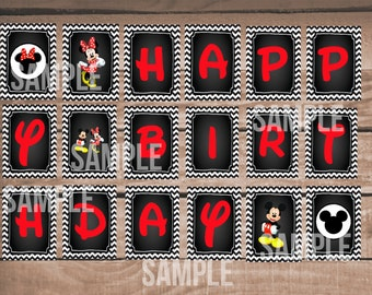 Mickey Mouse & Minnie Mouse Happy Birthday Banner Printable