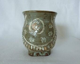 1468:Yunomi tea cup,Japanese Mishima Artistic pottery stoneware Yunomi Cup with Beautiful design,Sencha tea ceremony,marked,Handmade inJapan