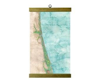 South Brunswick Beach Islands North Carolina Coastal Art Map