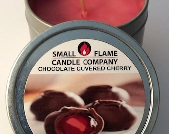 Handcrafted Chocolate Covered Cherries Scented Soy Candle from Small Flame Candle Company