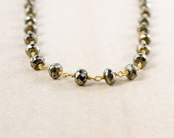 Black Pyrite Beaded Necklace – Choose Your Length