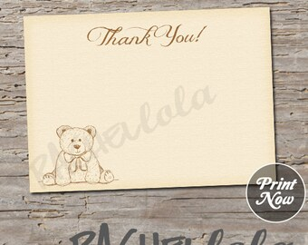 Teddy Bear, Thank You notes, printable cards, 4x6, 5x7, birthday, baby shower, instant digital download template, gender neutral, boy, girl