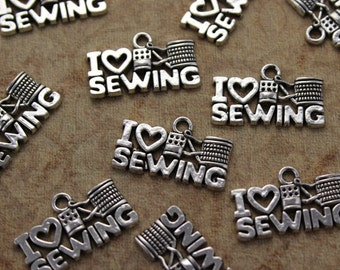 10 I Love Sewing Charms I Love Sewing Pendants Antiqued Silver Tone 20 x 10 mm
