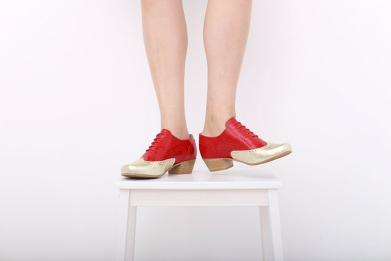 77725a13af shoes red SALE oxfords heels Shoes adikilav wide leather gold ON shoes  handmade Womens Yfx7Yw ...