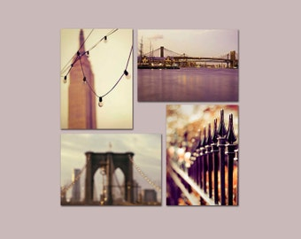 SALE, New York City Prints, Travel Gift, Purple, Gold, NYC Art, Sets of 4 Prints, 5x7 Prints