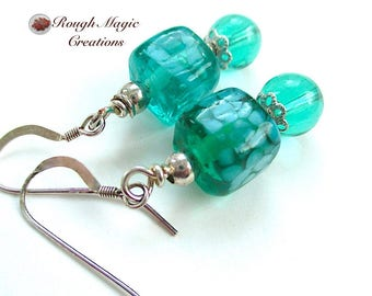 Icy Blue Green Earrings, Sterling Silver, Cool Aqua Lampwork Ice Cubes, Casual Jewelry, Beachy Tropical Colors, Colorful Gift for Women E494