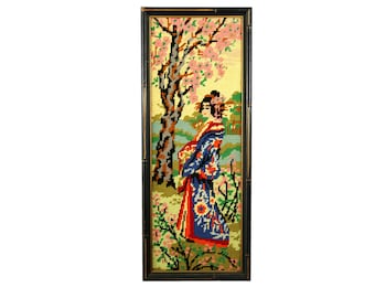 Vintage Needlepoint Geisha