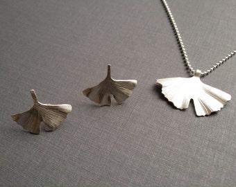 Ginko leaf pendant & Earrings Necklace 925/00