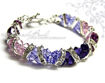 Swarovski Bracelet; Crystal Bracelet; Glass Bracelet; Purple and Silver Crystal Cuff Bracelet by CandyBead