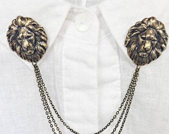 lion collar pins antique brass, collar chain, collar brooch, lapel pin, lion brooch, lion pin, lion's head brooch, sweater pins