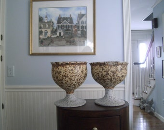 SALE Two Pottery Goblets /  Wedding Goblets / Signed