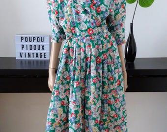 Floral vintage wrap dress size M