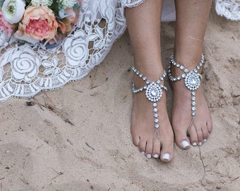 Silver Barefoot Sandals Beach Wedding Anklet Foot Jewelry for the Bride Serena Beach Sandals Boho Bride Beach Wedding Sandals Bridal Shoes