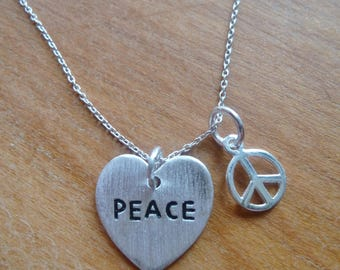 Sterling Silver Peace Heart & Peace Sign Charm Necklace on chain