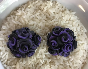 Violet and black Rose cab 32 mm polymer clay