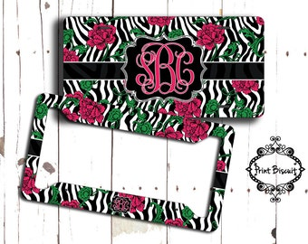 Zebra Rose License Plate Tag, Pink Car Plate, License Frame, Bicycle Tag, Bicycle Plate, Front Car Tag, 15LT