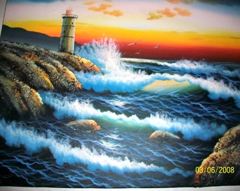 Listing 339 is an Original beachscape lighthouse acrylic painting