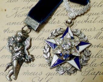 Vintage Star medal rhinestones bookmark cherub decor
