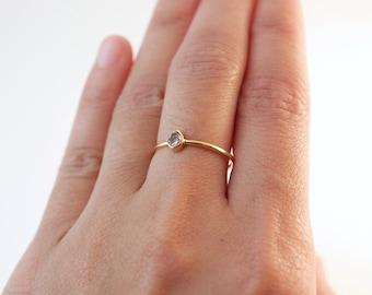 Herkimer Diamond Ring Gold | Gold Rings | Herkimer Diamond | Rings With Stones | Diamond Rings | Stacking Rings | Bridesmaid Rings