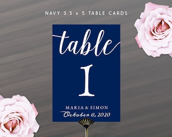 Printable DIY Navy Blue Table Number Cards 3.5 x 5 | Calligraphy Table Numbers with Name and Wedding Date | Instant Download