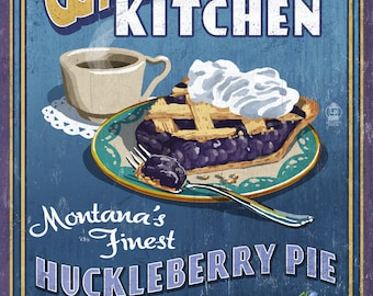 Whitefish, Montana - Huckleberry Vintage Sign - Lantern Press Artwork (Art Print - Multiple Sizes Available)