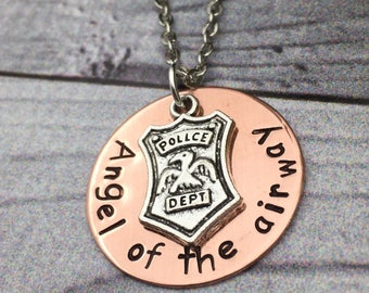 Hand stamped pendant, hand stamped quote, 911 dispatcher, police dispatcher, back the blue, inspirational jewelry, Angel of the airway.