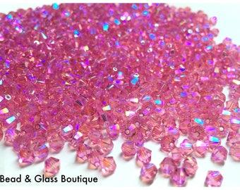 Swarovski Crystal #5328, 4mm Bicone, 36 beads, *NEW* Rose Shimmer 2X