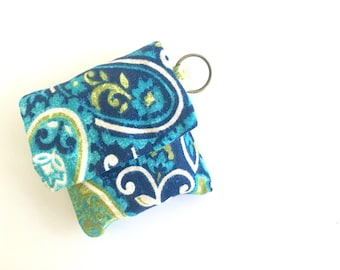Blue Keychain Paisley / Tampon Pouch / Tampon Holder / Grouch Pouch