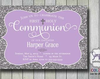 Baptism/Communion Invitation - Purple Glitter