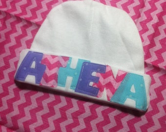 Custom Baby Name Hat, Girl Beanie Hat, Newborn name hat, Newborn Hospital Hat GIRL, Newborn hat