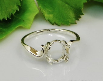 Oval Swirl (7x5- 10x8) Cabochon (Cab) Sterling Silver RING Setting (ID# 163-565)