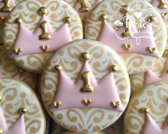 Princess Crown First Birthday Cookies