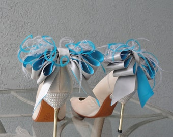 Bridal Party Wedding Gray And Turquoise Satin Ribbon Bow And Feather Shoe Clips Set Of Two