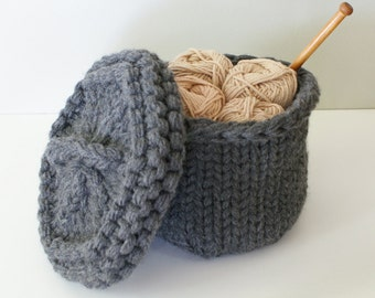 """DIY Knitting PATTERN - Chunky Knit Lidded Baskets - 2 sizes (approx 5"""" diameter by 4"""" tall, and 7"""" diameter by 5"""" tall) (homdec012)"""
