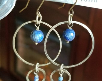 Bronze and lapis lazuli earrings