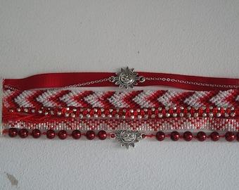 Red Burgundy Cuff Bracelet