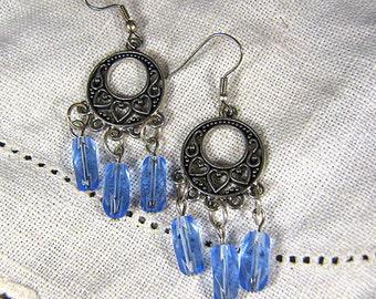 Antique Silver Dangle Earrings / Czech Glass Light Blue Long Beads / Pierced Earrings / Chandelier Earrings/ Heart Earrings