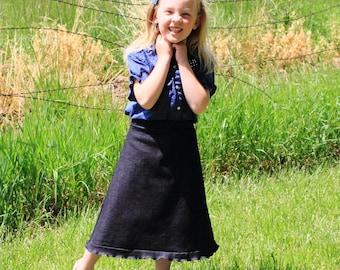 Black Jean Skirt - Modest Clothes - Stretch Knit Denim - Elastic Waist - Play Clothes - Girl - Ruffle Edge - Frills - Modest Skirt - Long