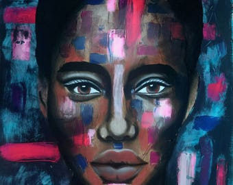 Alma - Large, Mixed Media, Abstract, Modern, Original Painting, Portrait,