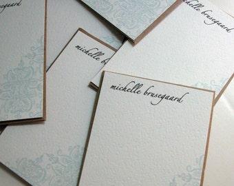 Set of 10 personalized flat notes-Aqua Brocade