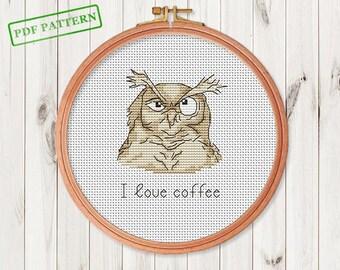 Owl Cross Stitch Pattern Bird Modern Cross Stitch Coffee Lovers Gift Funny Cute embroidery pattern Owls Lovers Gift