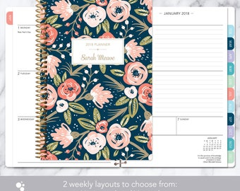 weekly planner | 2018 & 2019 calendar | add monthly tabs custom student planner | personalized planner agenda | navy pink gold floral