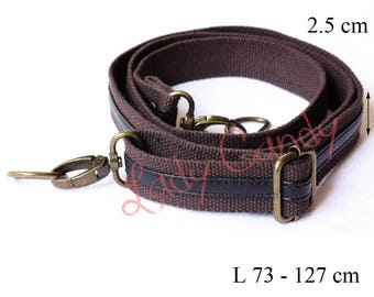 Bag fabric and leather black 73-127cm adjustable #330258 handle