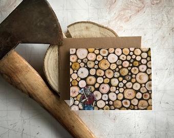 Lumberbear Greeting Card, Lumberjack bear illustration card, PNW logger card, bear in flannel, outdoorsman card, Rustic blank card