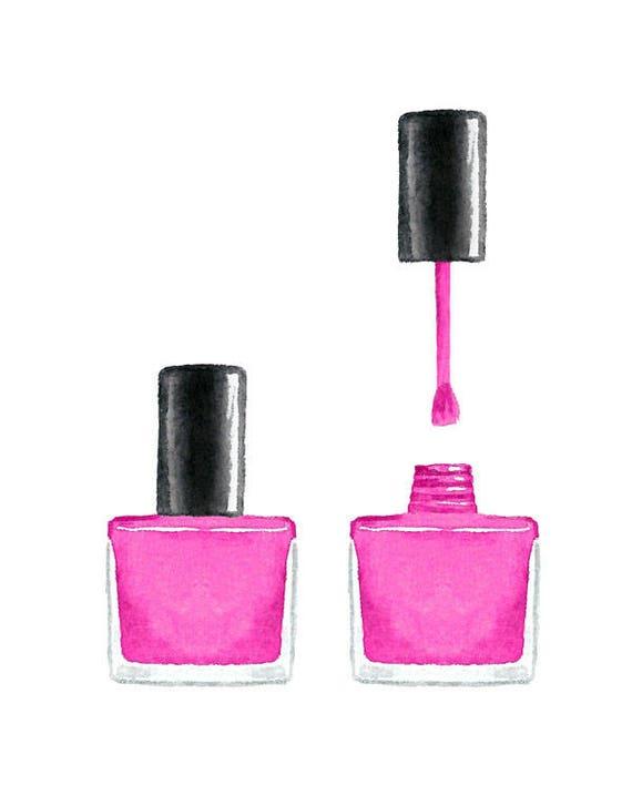 Watercolor Pink Nail Polish Clip Art Set Collection