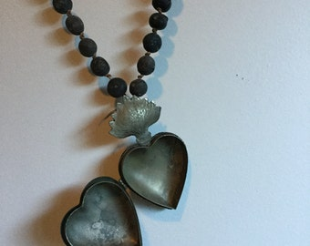 Heart / Rosary / Sculpture wall hanging ( seed pods )