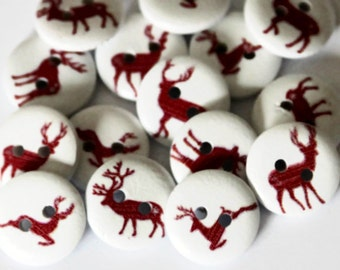 15 Reindeer Buttons 15mm - Nordic Buttons - Scandinavian Buttons - White Painted Wood - Christmas Deer Button - Xmas Buttons - PW73