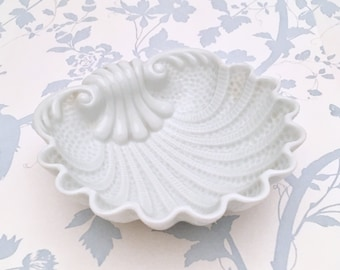 Vintage Limoges Porcelain Shell Dish, Rococo Style in White, ca 1940s