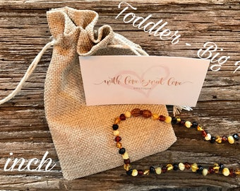 Baltic Amber Teething Necklace - MIXED color - Toddler - Big Kid - 15 inch